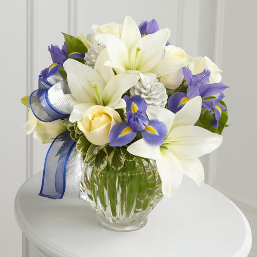 Blue iris, white roses, Asiatic lilies, Hanukkah Bouquet