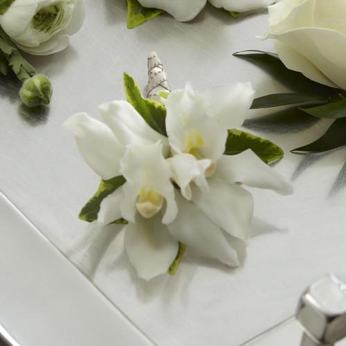 White Mini Cymbidium Boutonniere