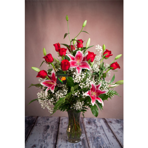 Premium dozen roses, red roses, stargazer lilies, lily, rose, dozen red roses, rose bouquet, send roses