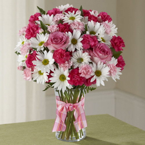 Sweet Surprises, roses, pink mini carnations, white traditional daisies