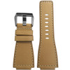 24mm Creme Russian Leather Watch Strap with White Stitching For Bell & Ross | Panatime.com