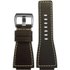 24mm Mocha Grain Russian Leather Watch Strap with White Stitching For Bell & Ross | Panatime.com