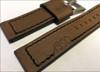 "24mm Dark Brown Vintage Leather ""Marine 1950"" Watch Strap with Black Stitching   Panatime.com"