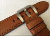 24mm Brown Padded Vintage Leather Watch Strap with Match Stitching | Panatime.com