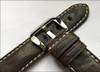 24mm (XL) Dark Brown Padded Distressed Vintage Leather Watch Strap with White Stitching | Panatime.com