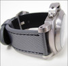 "26mm Carbon Grey ""KVLR"" Style Waterproof Synthetic Style Watch Strap with Black Stitching 