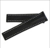 24mm Black Genuine Shark Watch Strap with White Stitching for Breitling Deploy (24x20) | Panatime.com