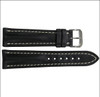 22mm Black Genuine Shell Cordovan Leather Watch Strap with White Stitching for Breitling (22x18) | Panatime.com