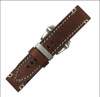 """26mm Brown-Red Genuine Vintage Leather """"Officer"""" Watch Strap with White Stitching 