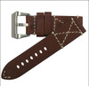 26mm Red Oak Genuine Vintage Leather Watch Strap with White X-Box Stitching | Panatime.com
