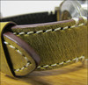 """26mm (XL) Honey Genuine Vintage Leather """"Corporal"""" Watch Strap with White Stitching 