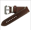 "24mm (XL) Brown-Red Genuine Vintage Leather ""Officer"" Watch Strap with White Stitching 