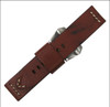 24mm (XL) Red Oak Genuine Vintage Leather Watch Strap with White Stitching | Panatime.com