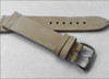 18mm Beige Genuine Vintage Leather Watch Strap with Minimal White Hand Stitching | Panatime.com
