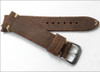 22mm Brown Rough Genuine Vintage Leather - Minimal White Hand Stitching | Panatime.com