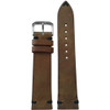 22mm (XL) Medium Brown Genuine Vintage Leather - Minimal Black Hand Stitching | Panatime.com