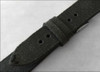 22mm (XL) Rough Black Genuine Vintage Leather - Minimal Black Hand Stitching | Panatime.com