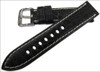 22mm Black Matte Genuine Alligator Skin - Padded, Flank Cut, White Stitching | Panatime.com