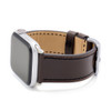 Mocha Russian Leather Watch Band for Apple Watch   Black Stitching   On Watch