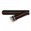 Black Two-Piece Ballistic Nylon Watch Strap with Single Orange Stripe | Panatime.com