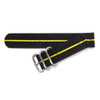 Black Two-Piece Ballistic Nylon Watch Strap with Single Yellow Stripe | Panatime.com