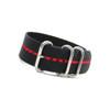 Black 3-Ring Ballistic Nylon Watch Strap with Red Stripe | Panatime.com