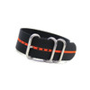 Black 3-Ring Ballistic Nylon Watch Strap with Orange Stripe | Panatime.com