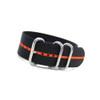 Black 3-Ring Ballistic Nylon Watch Strap with Orange Stripe | Panatime.com