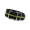 Black 3-Ring Ballistic Nylon Watch Strap with Yellow Stripe | Panatime.com