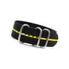 Black 3-Ring Ballistic Nylon Watch Strap with Yellow Stripe | Panatime.com