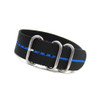 Black 3-Ring Ballistic Nylon Watch Strap with Blue Stripe | Panatime.com