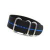 Black 3-Ring Ballistic Nylon Watch Strap with Blue Stripe | Panatime.com
