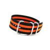 Black 3-Ring Ballistic Nylon Watch Strap with Double Orange Stripes | Panatime.com