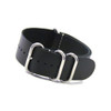 Smooth Black 4-Ring Classic Leather NATO Watch Strap | Panatime.com