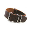Smooth Brown 4-Ring Classic Leather NATO Watch Strap | Panatime.com