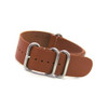 Smooth Light Brown 4-Ring Classic Leather NATO Watch Strap | Panatime.com