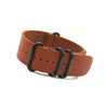 Mahogany 4-Ring Classic Leather NATO Watch Strap with PVD (Black) Hardware | Panatime.com