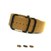 5-Ring Natural Vintage Leather One-Piece Watch Strap with PVD Rings | Panatime.com