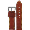 26mm Chestnut Bronco Vintage Leather Watch Strap with Yellow Stitching | Panatime.com