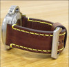 26mm Brown Bronco Vintage Leather Watch Strap with Yellow Stitching | Panatime.com