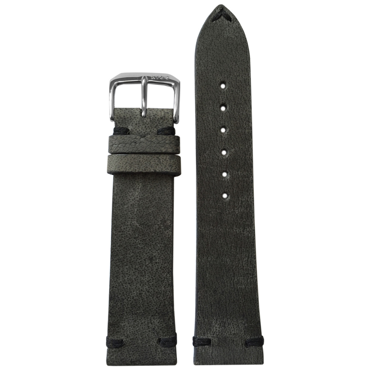 456d994f8a6 18mm Charcoal Genuine Vintage Leather Watch Strap with Minimal Black Hand  Stitching