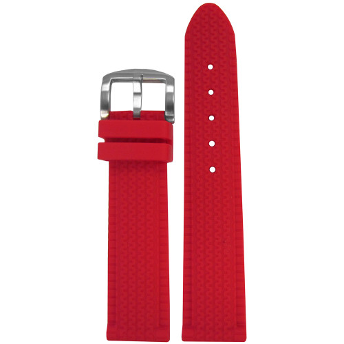 22mm Red Tire Track Waterproof Rubber Watch Strap | Panatime.com