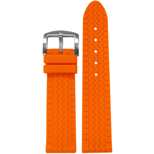 22mm Orange Tire Track Waterproof Rubber Watch Strap | Panatime.com