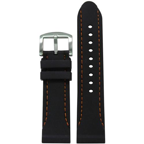 24mm Black Silicone Waterproof Diver Watch Strap with Orange Stitching    Panatime.com