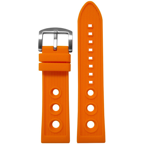 24mm Orange Waterproof Silicon Diver Rally Watch Strap For Breitling | Panatime.com