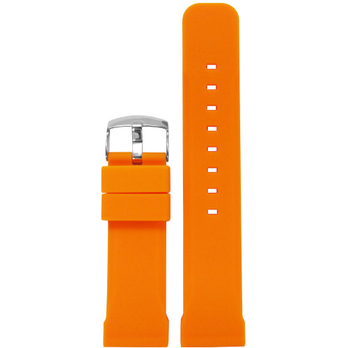 20mm Orange Waterproof Silicon Flat Diver Watch Strap | Panatime.com