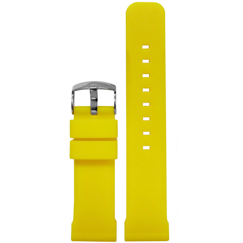 22mm Yellow Waterproof Silicon Flat Diver Watch Strap | Panatime.com