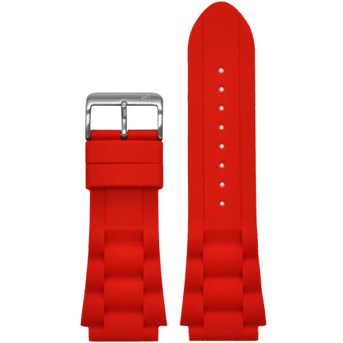 24mm Piero Magli Red Waterproof Silicone Oyster Diver Watch Strap | Panatime.com