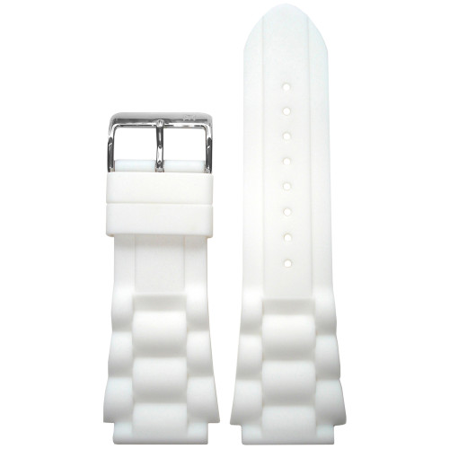 24mm Piero Magli White Waterproof Silicone Oyster Diver Watch Strap | Panatime.com