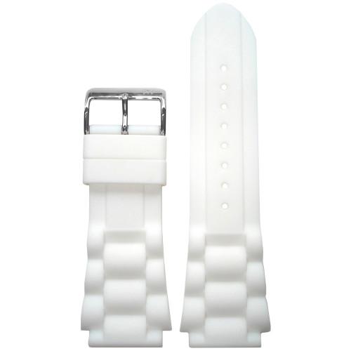 20mm Piero Magli White Waterproof Silicone Oyster Diver Watch Strap   Panatime.com